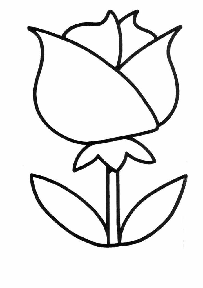 rose coloring page for kids