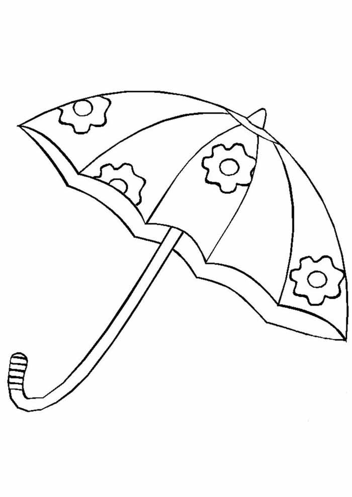 umbrella coloring page for kids