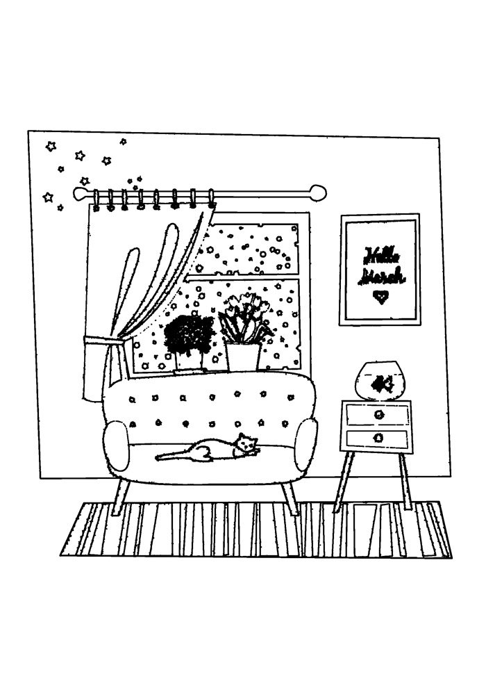 house coloring page 35