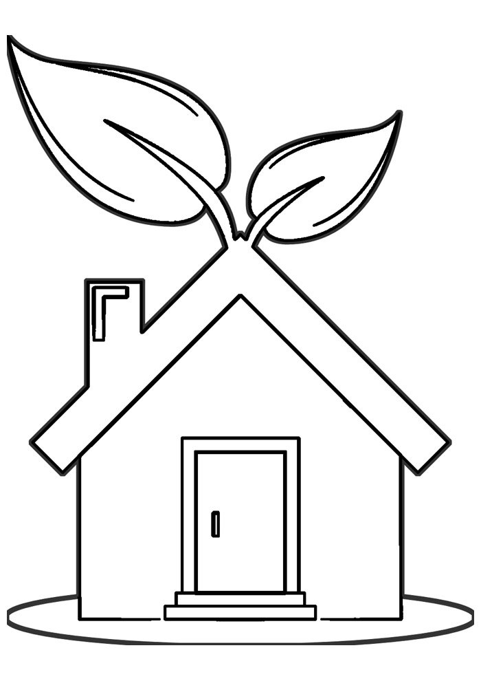 house coloring page 4