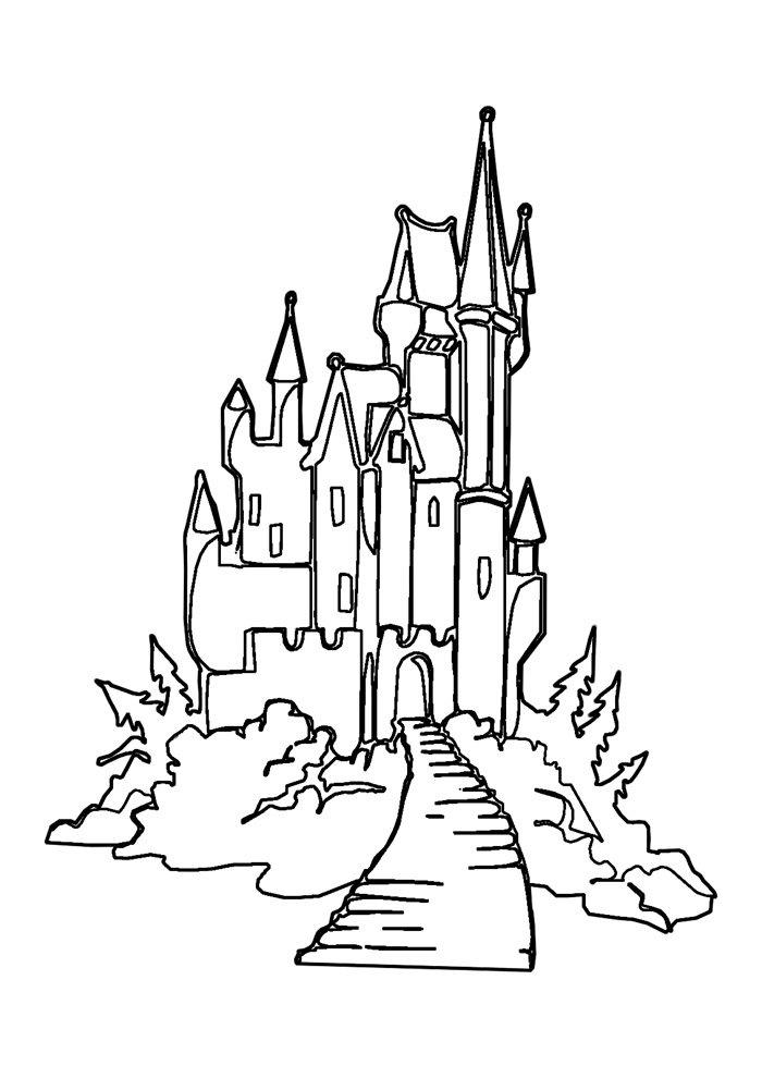 castle coloring page 10
