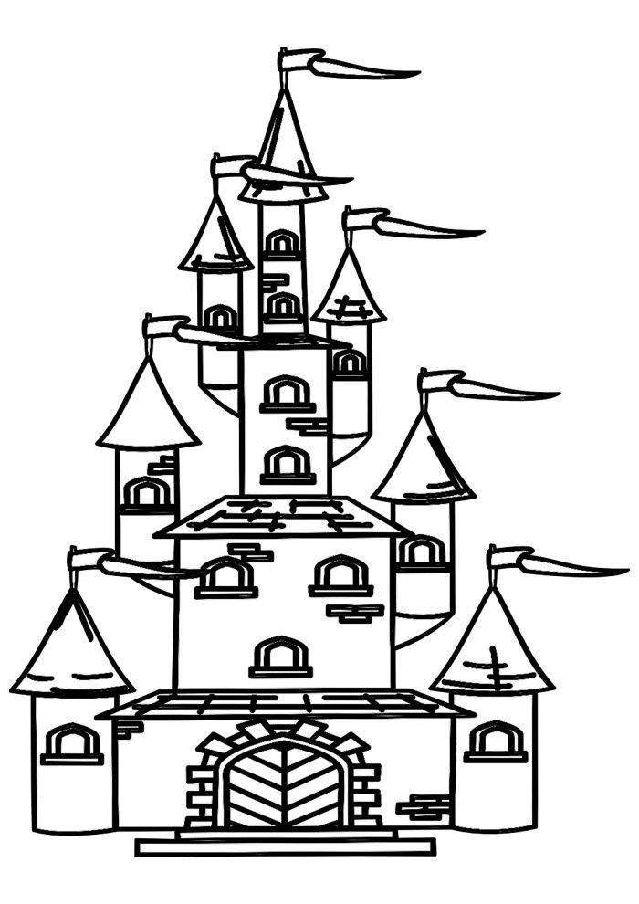 castle coloring page 19