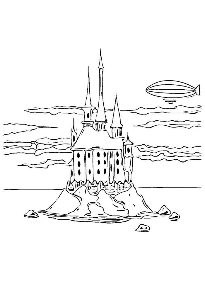 castle coloring page 24