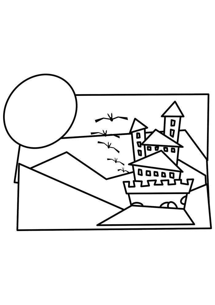 castle coloring page 28