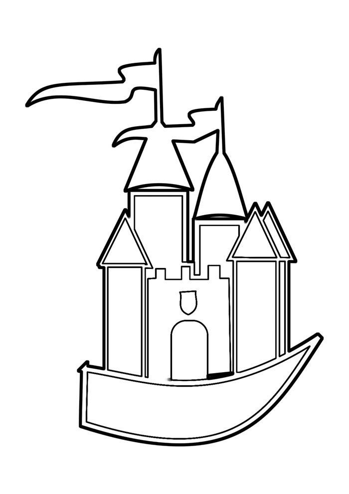 castle coloring page 4