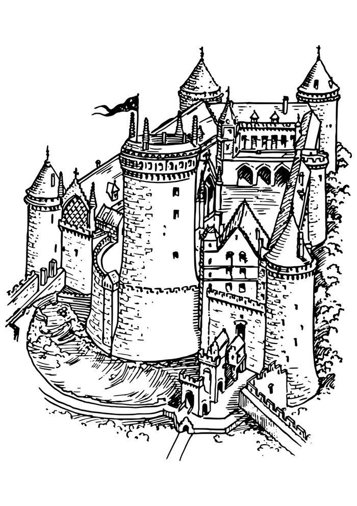 castle coloring page 6
