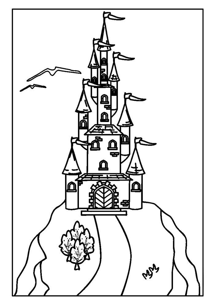 castle coloring page 7