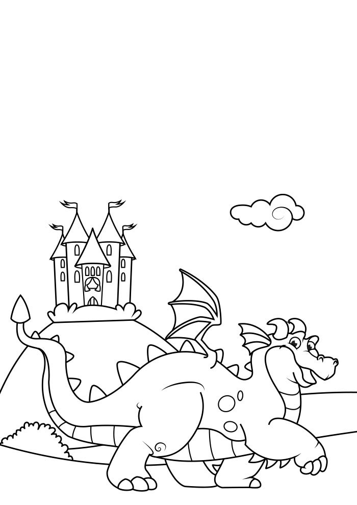 dragon coloring page 9